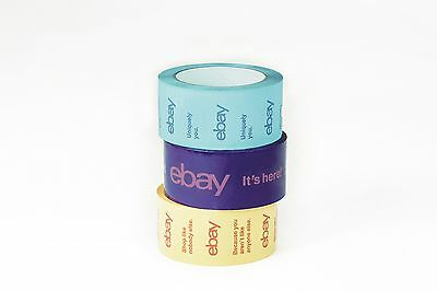 2 X 75 Yard Purple Blue And Yellow Ebay-branded Packaging Tape Multi-pack