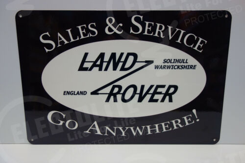 """LAND ROVER SALES & SERVICE DEALERSHIP SIGN. GO ANYWHERE. 14.75""""X22"""" VERY SCARCE!"""