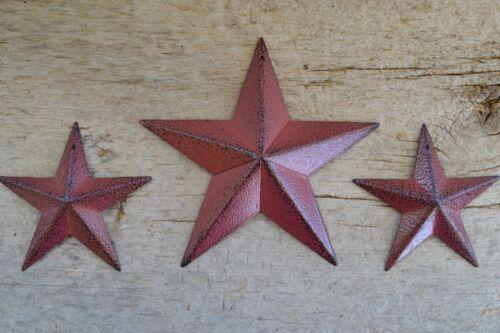 "Set of 3 ~ 5.5"" / 3.5"" BURGUNDY BLACK BARN STAR Metal Tin Primitive Country"