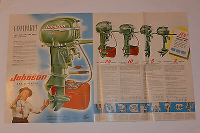 VINTAGE 1952 JOHNSON SEA-HORSE OUTBOARD ENGINES BROCHURE/FOLD OUT COLOR POSTER!