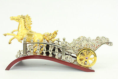 SUPER DEAL Ancient Horses chariot carvings Bronze Gold Plated SculptureEf