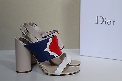 New sz 9.5 / 40 Christian Dior Open Toe Leather Ankle Sandal Pump Heel Shoes