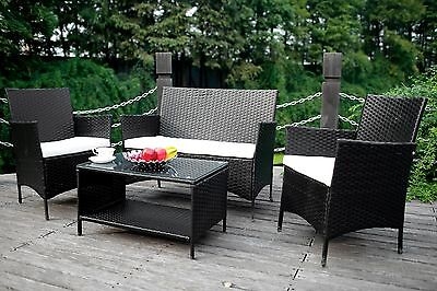 Meshuga Sale 4PCS Outdoor Rattan Wicker Patio Set Garden Sofa Furniture Cushioned