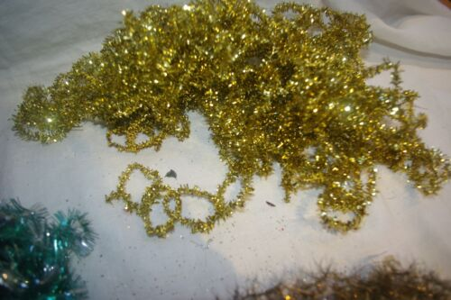 Antique Christmas  Gold Metallic LOOPED Tinsel Garland Feather Tree  28 FEET