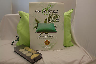 Aroma Herb (Aromakissen Einschlafhilfe Duft Herb Aroma Pillow grün+gratis Kerzenset Geschenk)