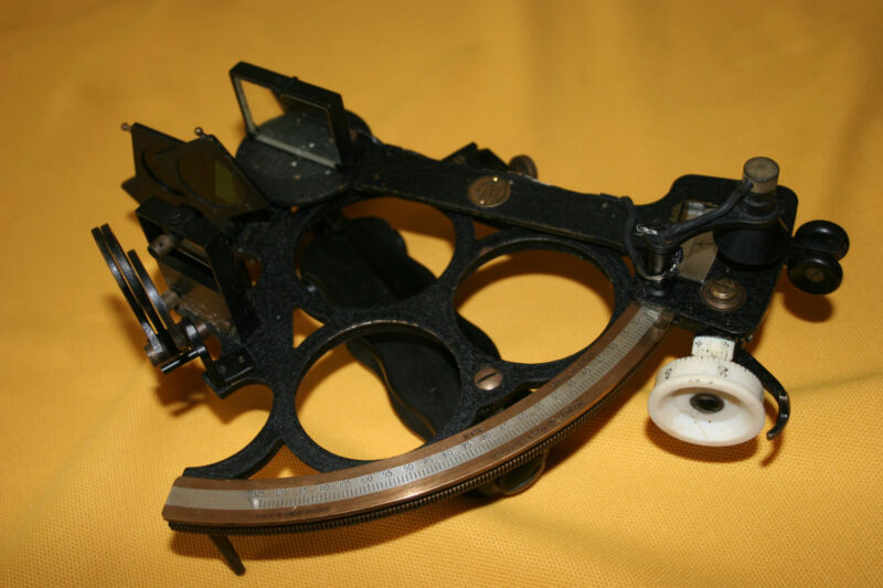 Antique Brass Husun Sextant in Mahogany Box