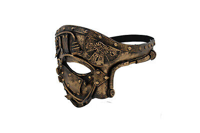 Unisex Gold Half Face Mask Gothic Steampunk Halloween Costume Robot Parts Party