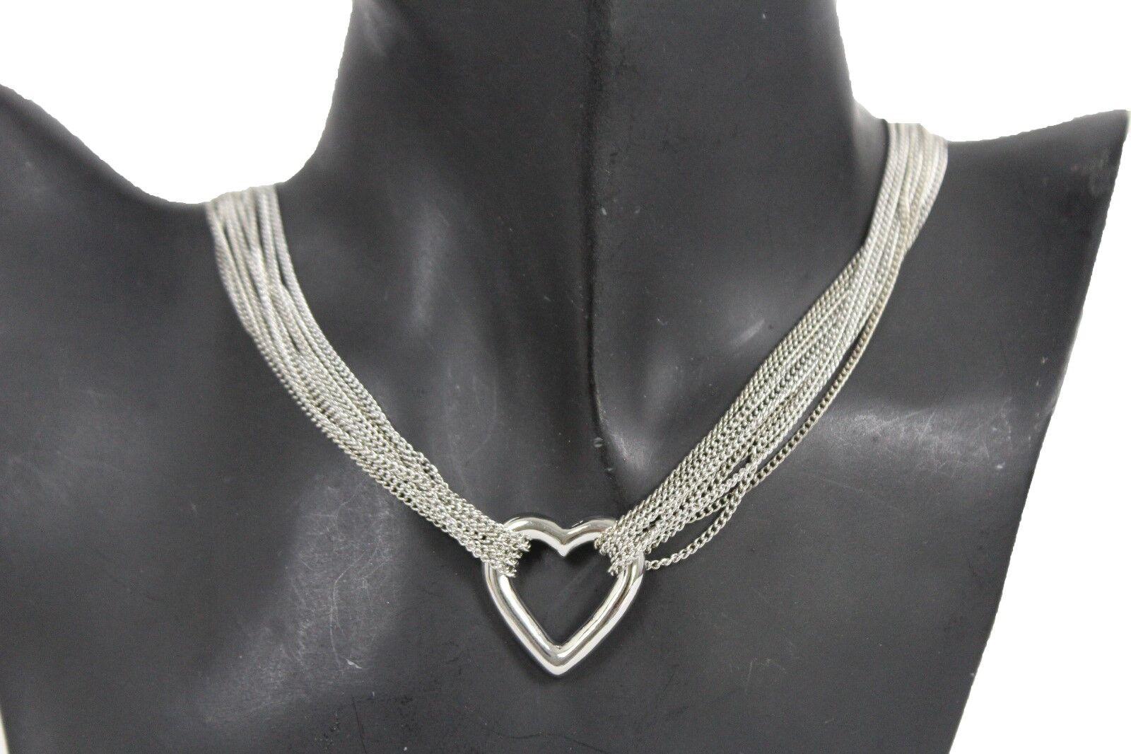 donna argento catena di metallo FILAMENTI collana alla moda Cuore Amore Amicizia