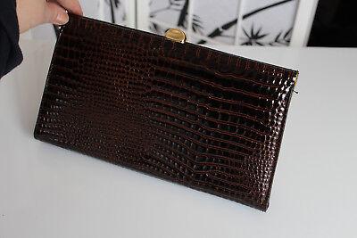6d10c87171831 Damen Handtasche Clutch Lackleder Krokodil-Muster Look Braun Necklage Erbe  TOP gebraucht kaufen Grönwohld
