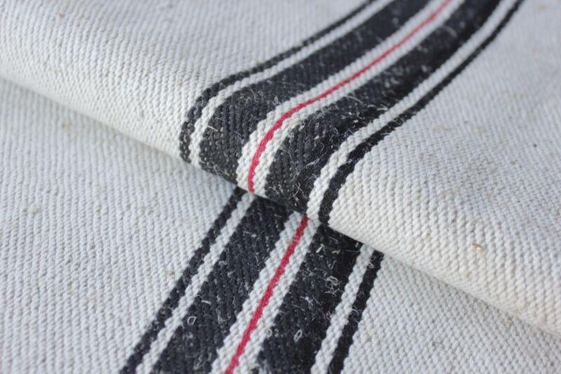 GRAINSACK GRAIN SACK fabric linen homespun European RED BLACK old bag