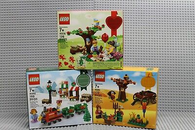 Lego Lot of 3 Seasonal Sets! 40236 Valentines, 40262 Christmas Train, 40261 Fall