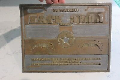 1960's Metal Printing Plate Lone Star Fish & Oyster Co. Advertising Logo  (Texana Star)