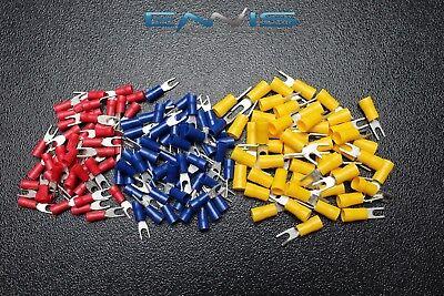 75 Pk 10-12 14-16 18-22 Gauge Vinyl Spade Connectors 25 Pcs Ea 6 Terminal Fork