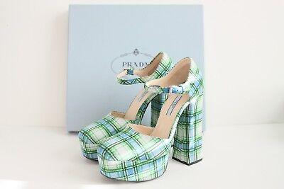 $790 BNIB Prada Plaid Ankle Strap Platform Pumps Green Blue White 40 / 10