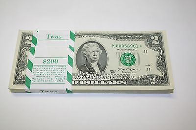 Uncirculated 2009 Two Dollar Star Notes Frb Dallas  2 Bills Low Serial Numbers