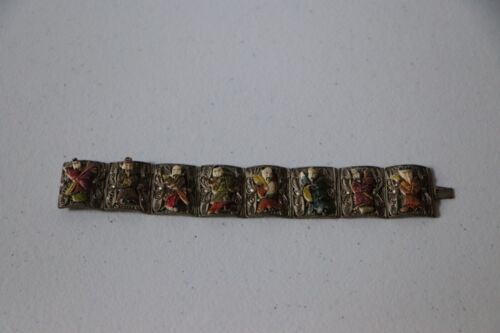 Vintage Chinese silver filigree panel bracelet with carved figures rare