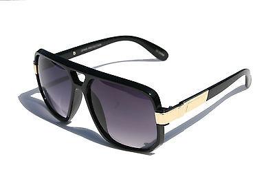GAZELLE SWAG HIP HOP AVIATOR SUNGLASSES OVERSIZED EVIDENCE RETRO SQUARE GOLD (Gold Square Aviator Sunglasses)