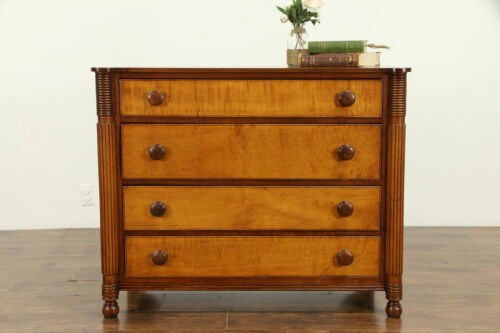 Sheraton Antique 1825 Cherry Tiger Curly Birdseye Maple Chest or Dresser #32365