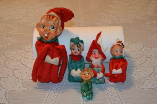 Vintage Christmas ~ LOT Knee Hugging Pixie Elves ~ 1 Chiming Elf Japan