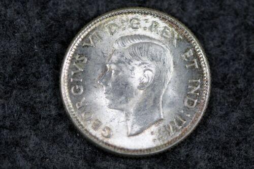 1937 CANADA King George VI Silver 25 Cent Coin CARIBOU #L01064
