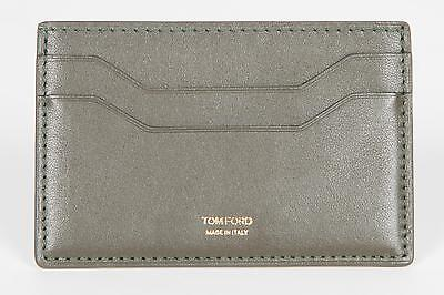 Tom Ford New Green Smooth 100  Calf Leather Id Credit Card Holder Made In Italy