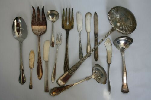 Lot of 14 Silverplate Serving Pieces Butter Knives Soup Meat Fork Mixed Maker 1A