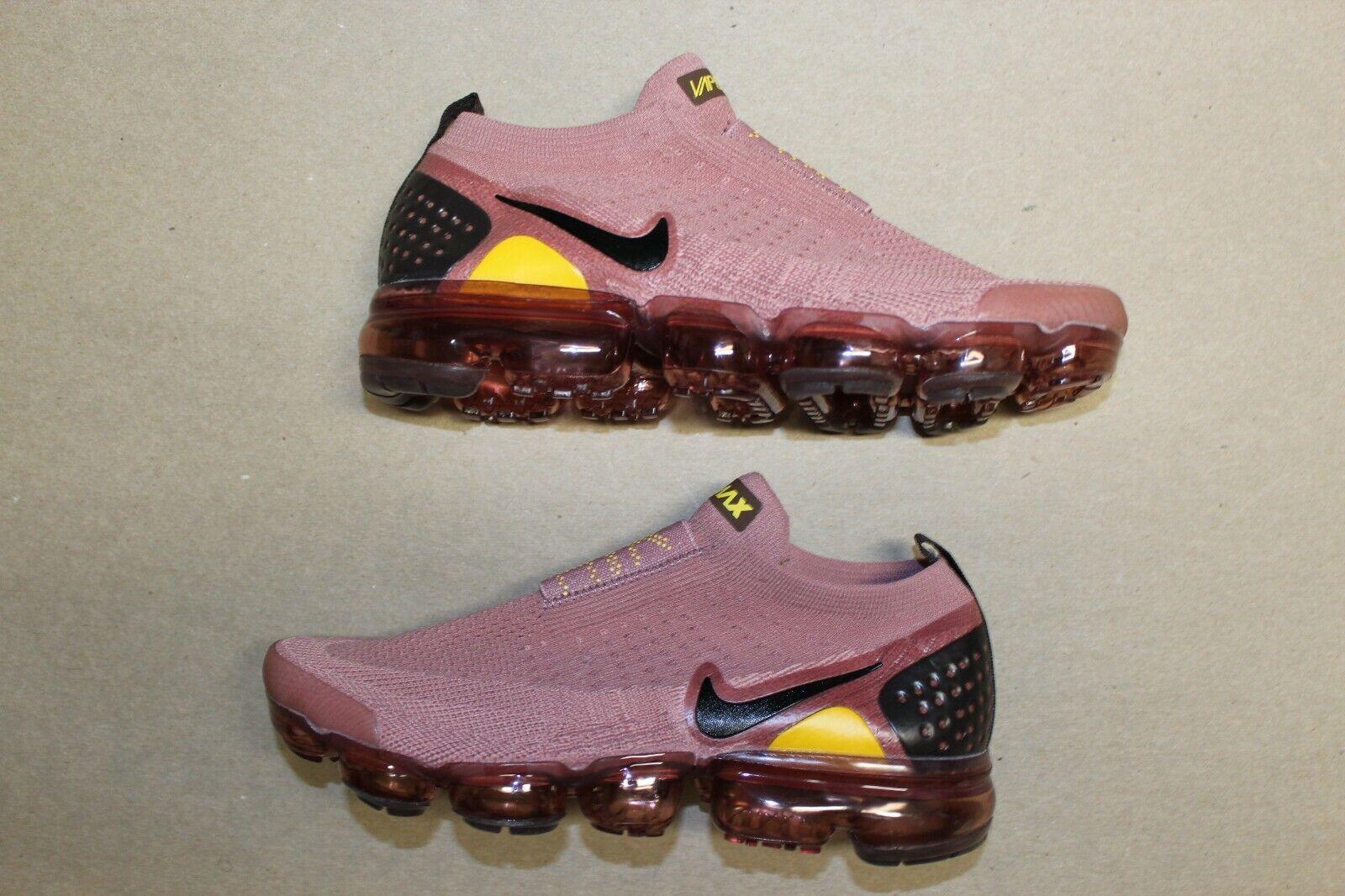 Women's Nike Air Vapormax Flyknit Moc 2 Laceless Size 8 Burgundy Yellow Brown