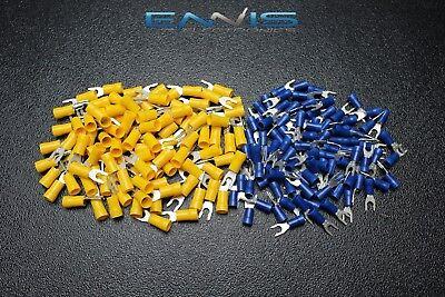 100 Pk 10-12 14-16 Gauge Vinyl Locking Spade 8 50 Pcs Ea Connectors Terminals