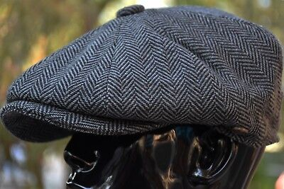 Mens Classic Herringbone Newsboy Cap,100% Wool Tweed Cabbie Hat Dark Gray Ns2317 Mens Wool Caps