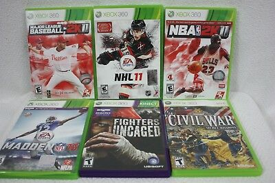 Xbox 360 Games  Lot of 6, EA Sports, Fighters Uncaged, Civil War Secret Missions for sale  Shipping to India