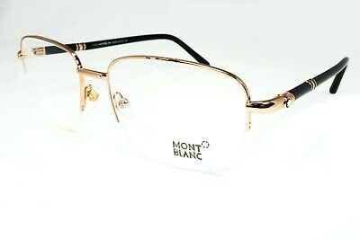 Mont Blanc Men's MB 528 028 Eyeglasses Gold Half Rimless 58-18-145 Authentic