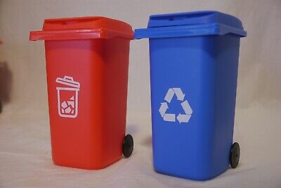New 2 Desk Decor Pencil Holder Mini Blue Recycling Bin Red Garbage Can 6in