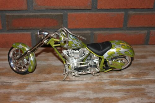 Orange County Choppers  Green and Silver Flames Collectible model Chopper