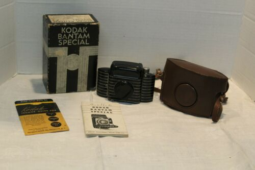 Vintage Kodak Bantam Special Camera  Art Deco Case & Instructions Untested