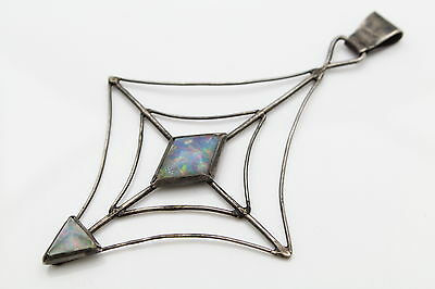 Large Vintage Artisan Spiderweb Design Pendant with Lab Opals in Sterling Silver