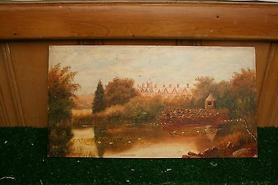 Antique Oil On Board Landscape Painting Sandriagham England Signed