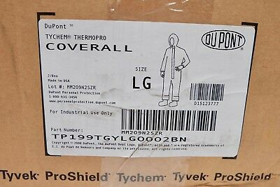 x2 DuPont Tychem Thermopro Hooded Coveralls Size Large LG TP199TGYLG0002BN Gray