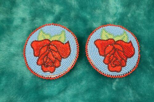 Native American Beaded Tie-On Pair of Medallions, Shoshone Rose Motif