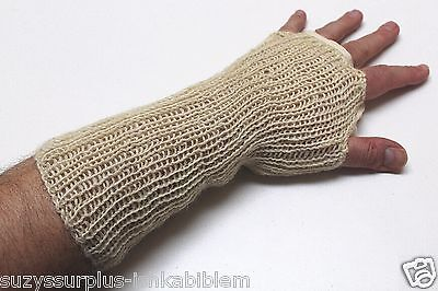 British white fingerless gloves wristlets wristovers size 3 large pair E1640