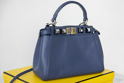 Fendi Peekaboo Regular Silver Edition Leather Shoulder Bag