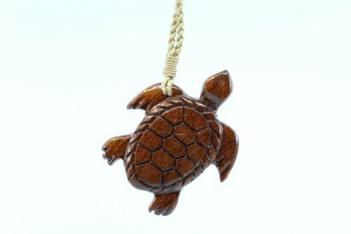 Hawaiian Koa Wood Turtle / Honu Necklace - Hand Carved Genuine Koa, Polynesian