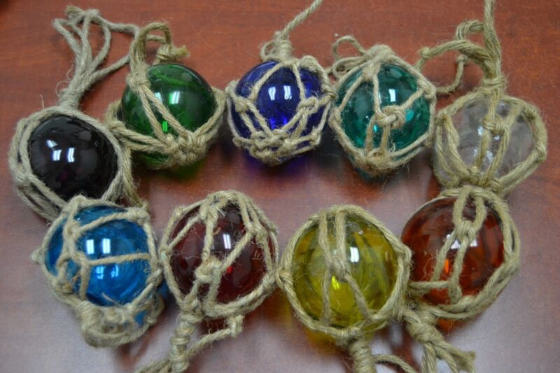 """6 PCS REPRODUCTION GLASS FLOAT BALL WITH FISHING NET 3"""" **PICK YOUR COLORS**"""