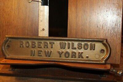 Antique Door Mail Slot Plaque Robert Wilson New York 2-3/8