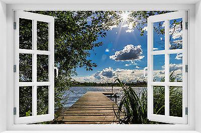 Fenster Poster (3D Wandillusion Wandbild FOTOTAPETE Poster Fensterblick Natur PVC / Vlies  kr-16)