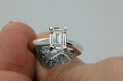 14K Solid Gold Solitaire Engagement Ring  1Carat Emerald Cut Free Sizing