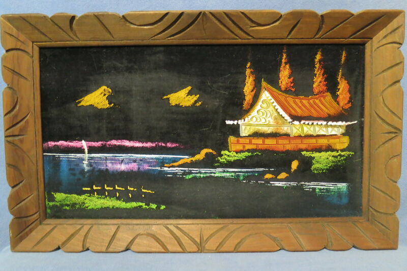 "Vintage Wall Decor - Black Velvet Landscape Painting Stamped Mexico 23"" x 14"""