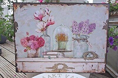 Shabby Blechschild Wandbild Blumen Flowers Haus Garten Retro Antiklook 25 x 33cm