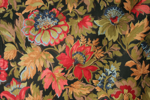Curtain Antique Russian Floral design cotton fabric w/ black ground wooden rings