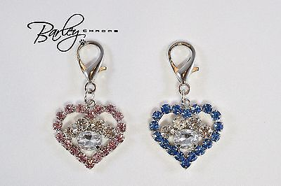 Rhinestone Heart & Paw Dog Cat Pet Tag Collar Charm - Blue or Pink Heart Dog Pet Collar Charm