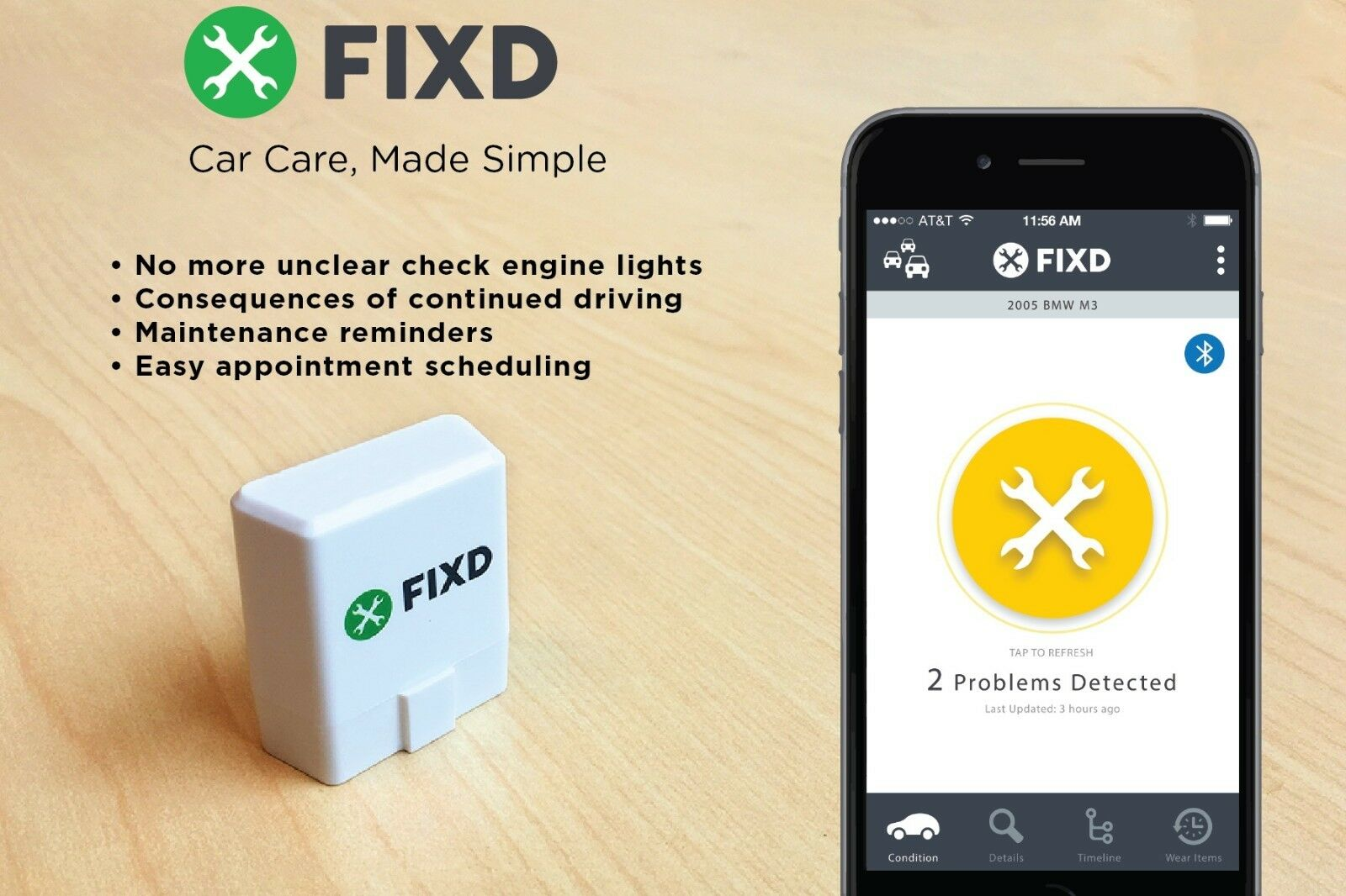 Owner FIXD OBD2 ACTIVE CAR HEALTH MONITOR DIAGNOSTIC SCANNER TOOL ENGINE CODE READER